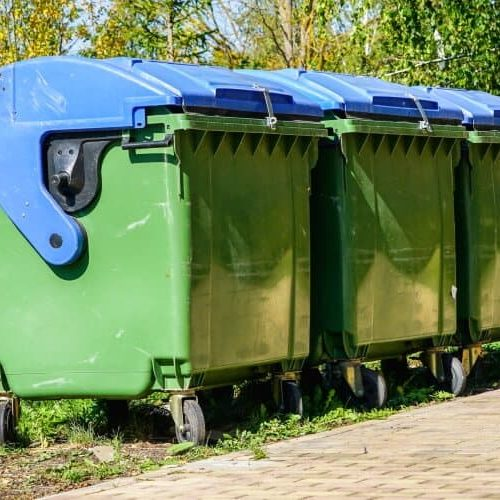 Three Large Green Plastic Wheelie Bins
