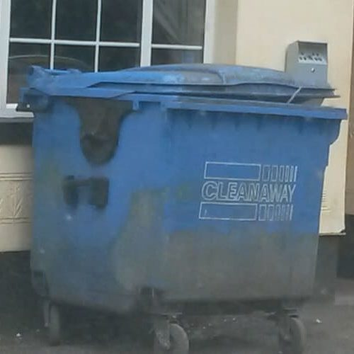 Dirty Blue Wheelie Bin to be cleaned